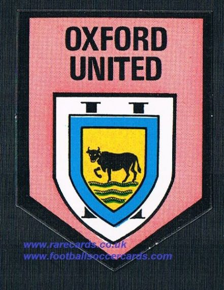 1970 BAB PVC sticker Oxford United square shield with backing paper